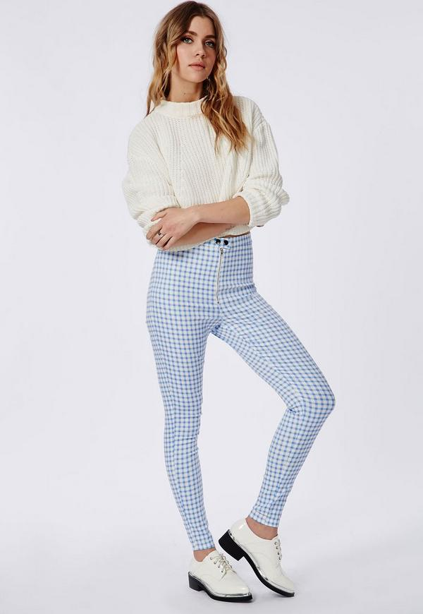 Gingham Skinny Jeggings Pastel Blue
