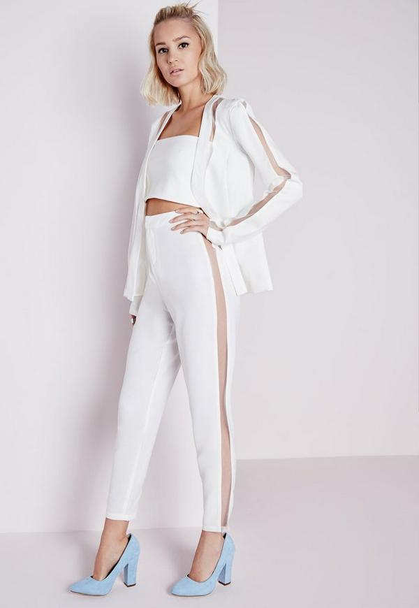 Mesh Panel Cigarette Trousers White