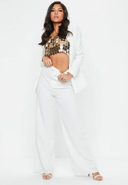 Premium Textured Crepe Wide Leg Trousers White