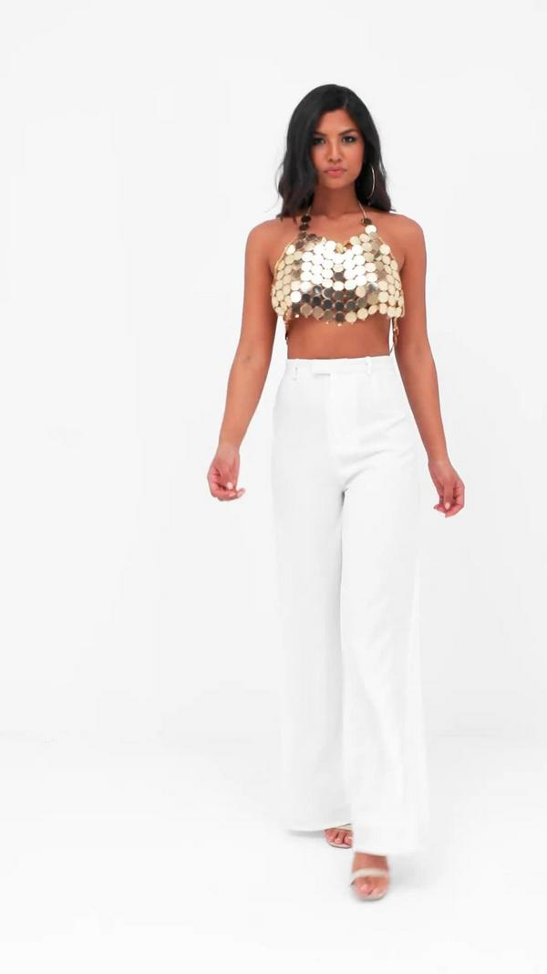 Premium Textured Crepe Wide Leg Trousers White Missguided