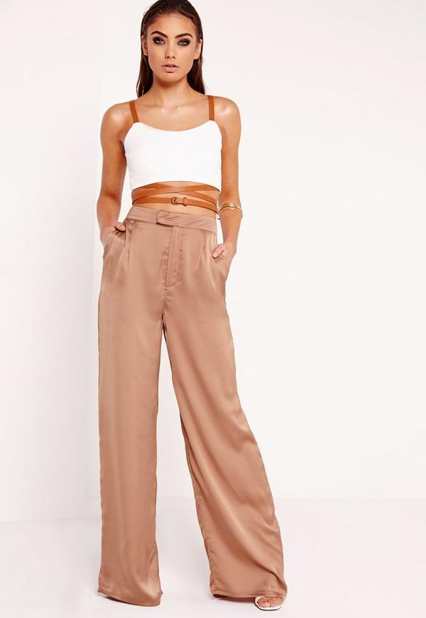 Peace   Love Satin Wide Leg Pants Nude - Missguided
