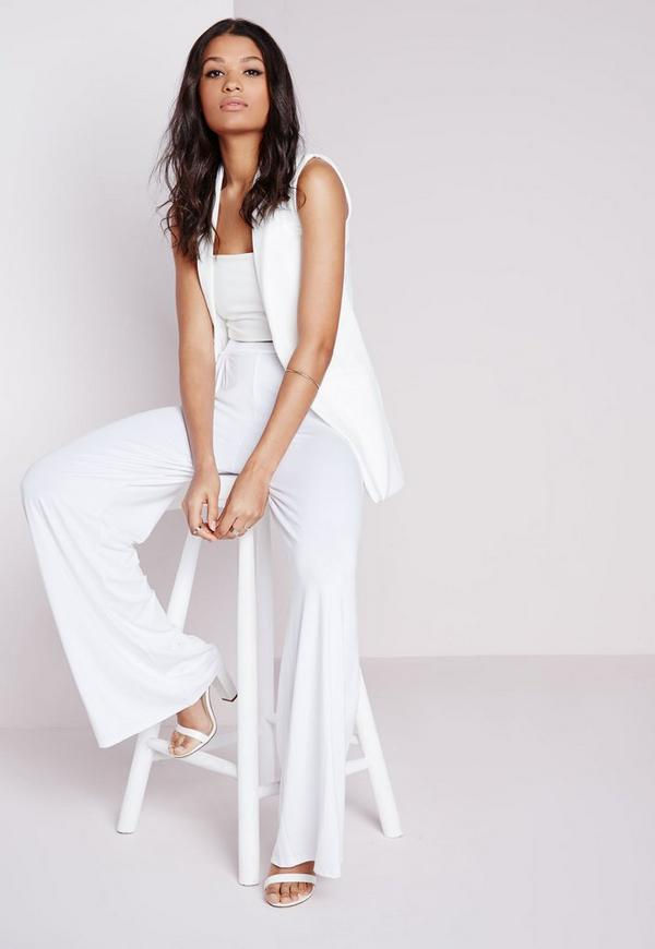 Jersey Wide Leg Trousers White