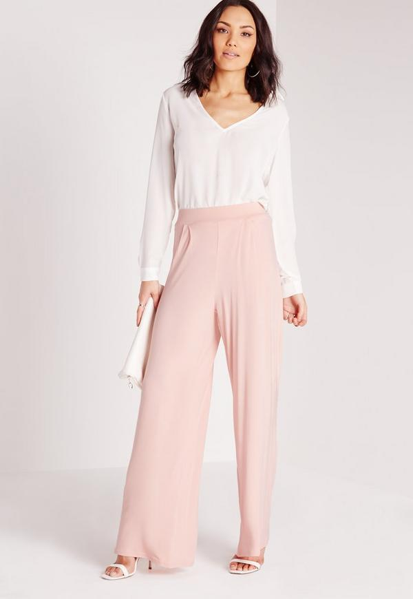 Jersey Wide Leg Trousers Blush