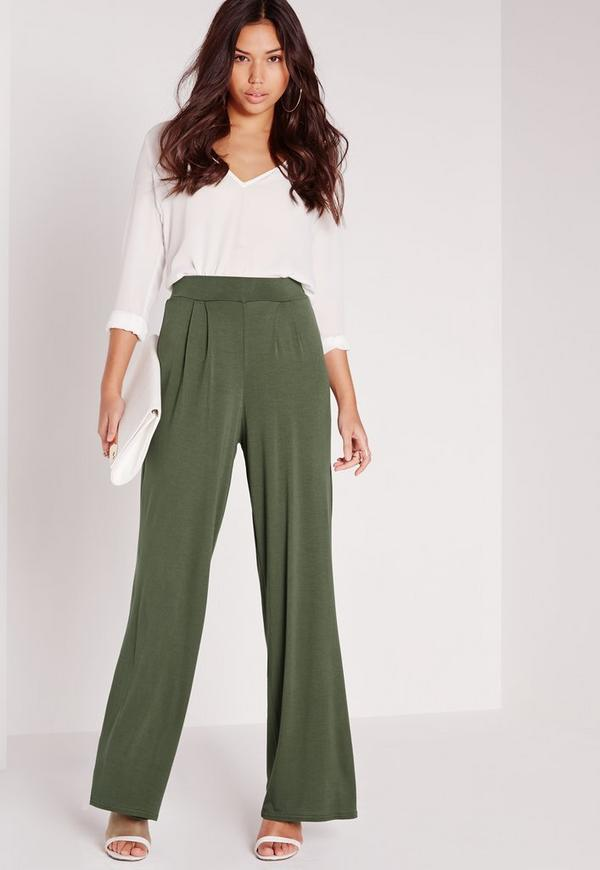 Jersey Wide Leg Trousers Khaki Green