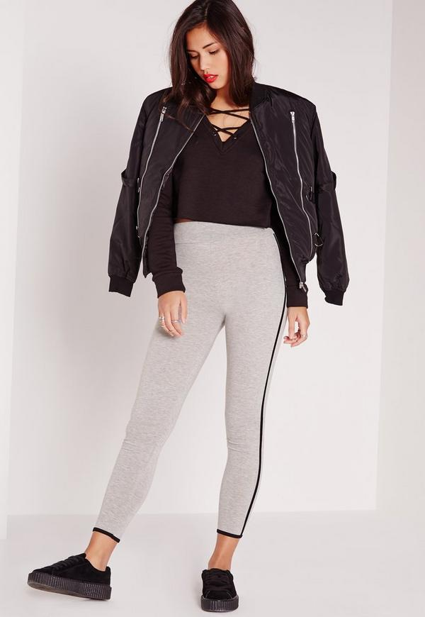 Contrast Piping High Waist Leggings Grey