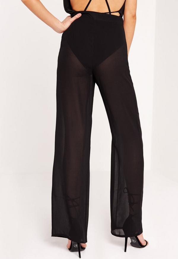 Sheer Wide Leg Pants Black | Missguided