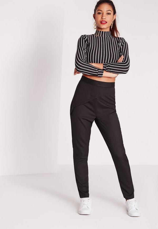 Origami High Waisted Cigarette Trousers Black
