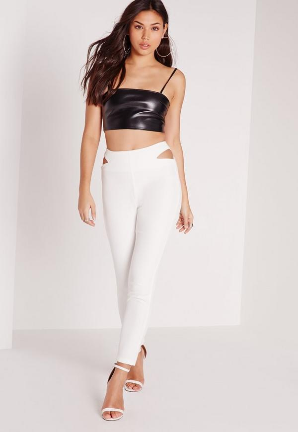 Cut Out Waist Cigarette Trousers White