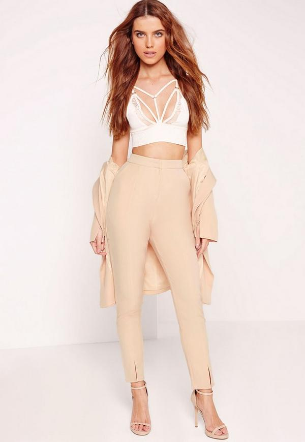 Notch Ankle Detail Cigarette Trousers Nude