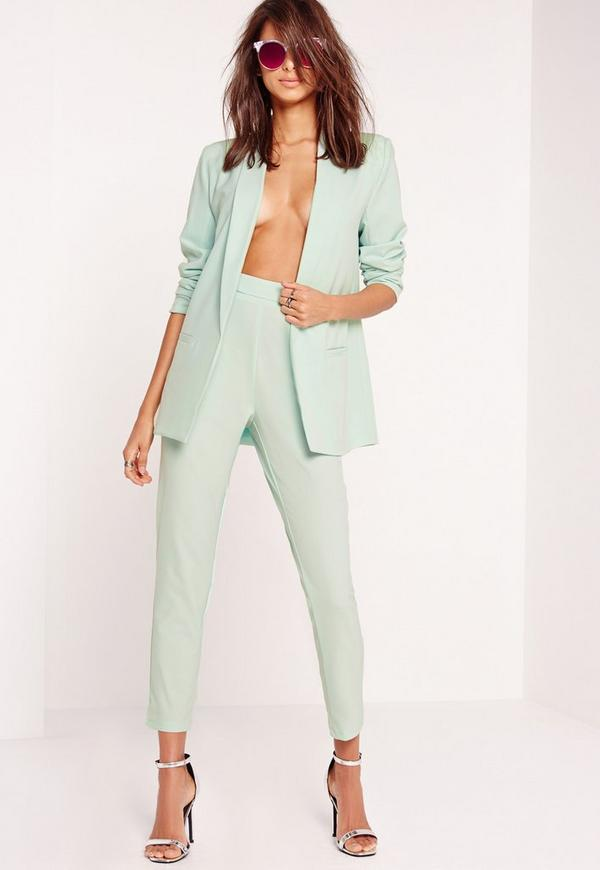Buckle Detail Cigarette Trousers Green