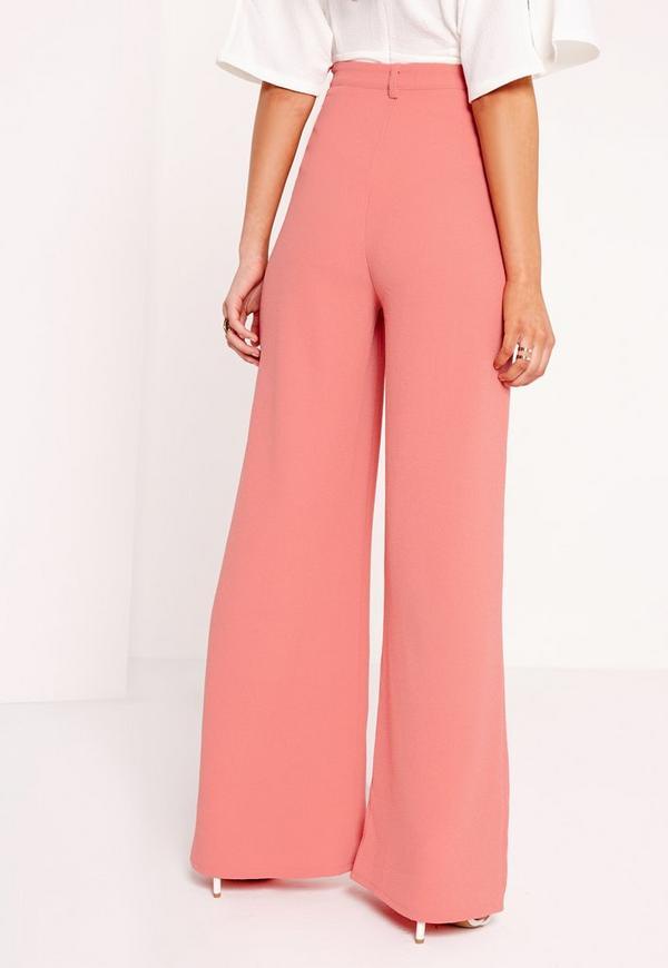 Premium Crepe Wide Leg Trousers Pink   Missguided Ireland 3adaeba50002