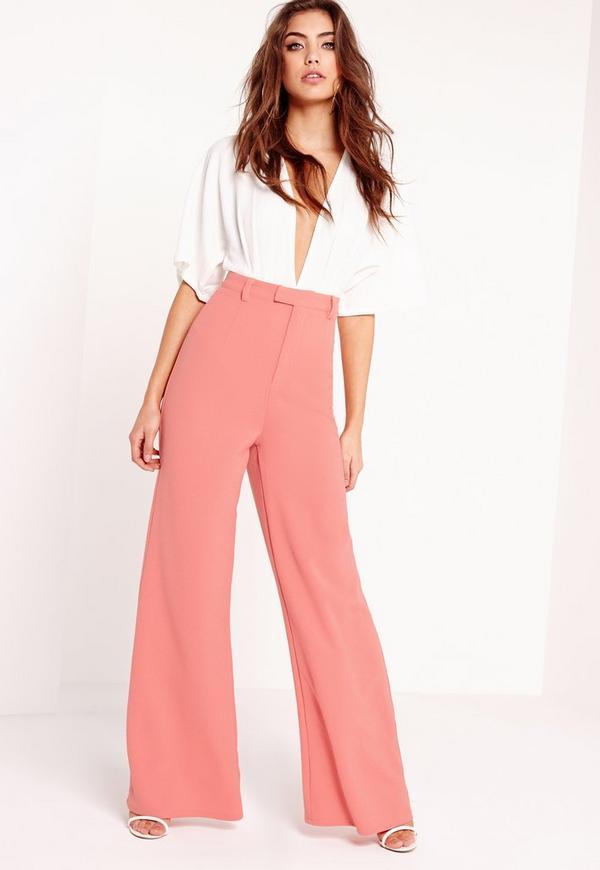 Premium Crepe Wide Leg Pants Pink Missguided