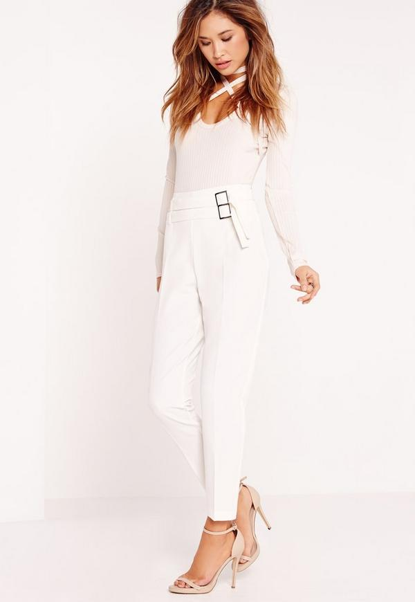 Double Buckle Belt Cigarette Trousers White