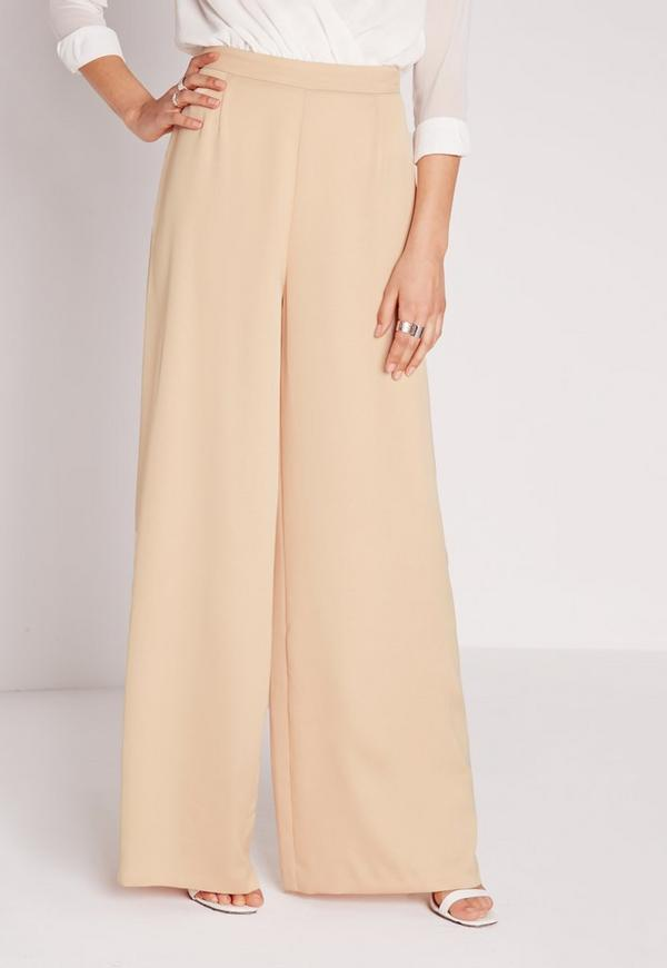 Satin Wide Leg Trousers Nude - Missguided