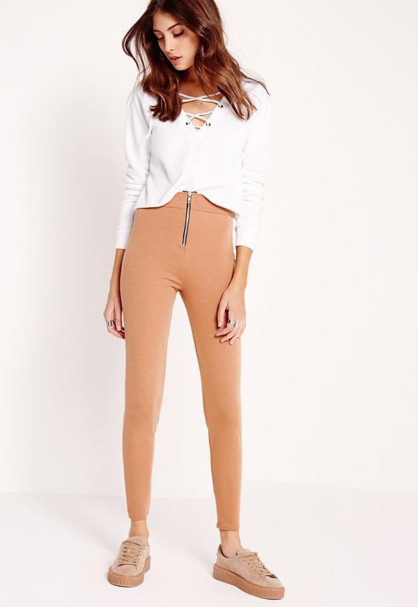 Zip Detail Skinny Fit Trousers Nude