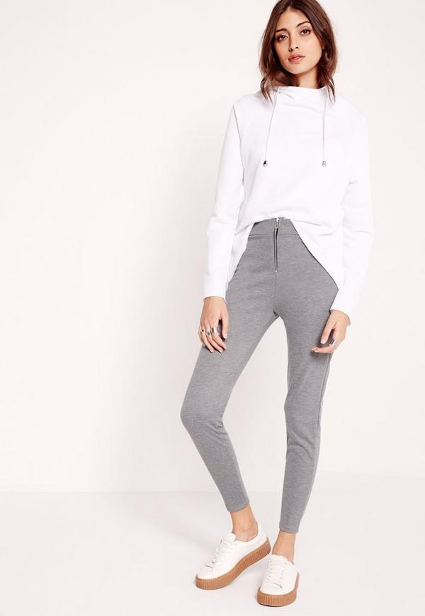 Zip Detail Ponte Skinny Fit Trouser Grey Marl