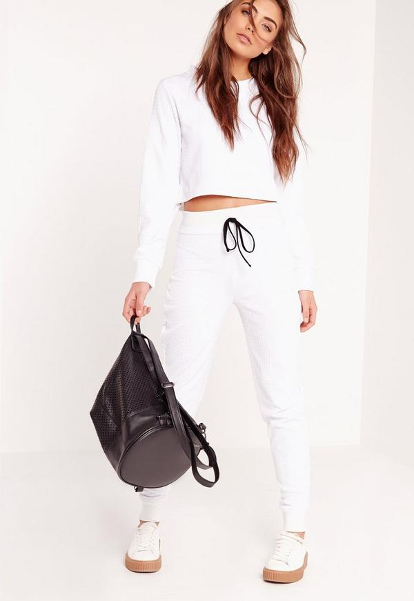 Snake Textured Skinny Joggers White