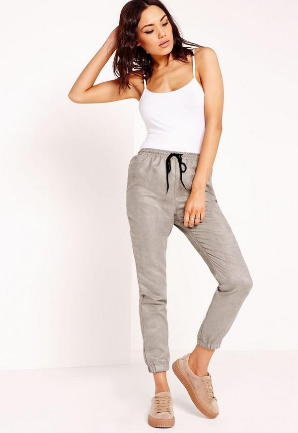 Faux Suede Joggers Grey