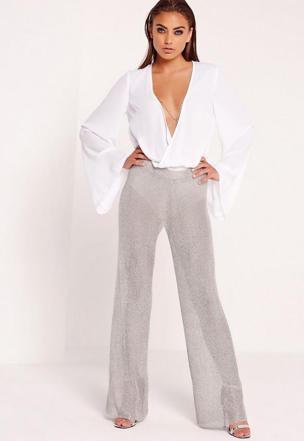 Peace + Love Metallic Knitted Flared Trousers Silver