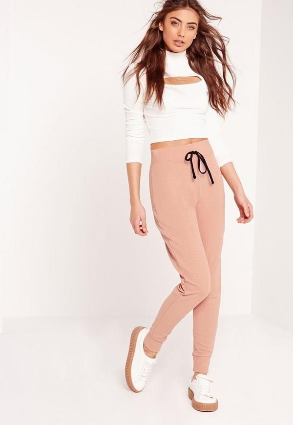 Snake Textured Joggers Pink