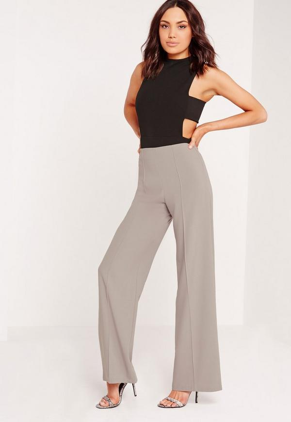 Pin Tuck Wide Leg Trousers Grey