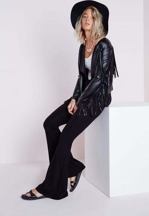 Jersey Skinny Flare Trousers Black
