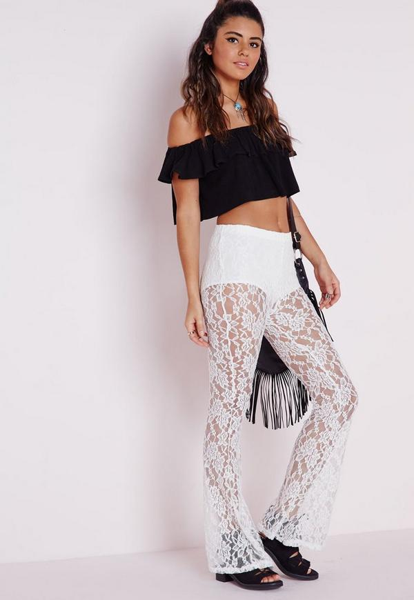 Lace Skinny Flare Trousers White