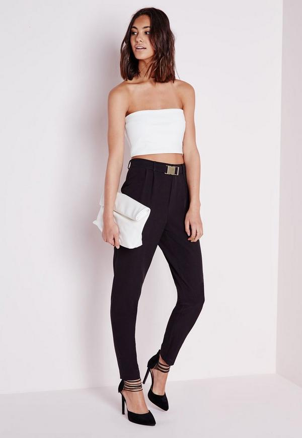 Gold Buckle Detail Cigarette Trousers Black by Missguided