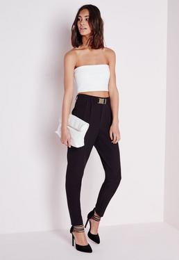 Gold Buckle Detail Cigarette Trousers Black