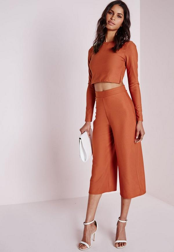 High Waisted Crepe Culottes Rust