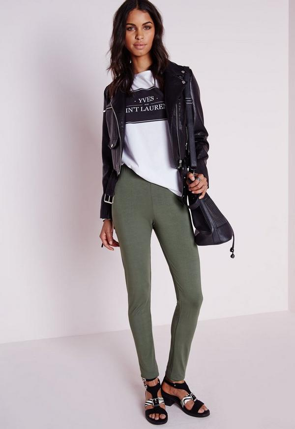 Basic Jersey Leggings Khaki