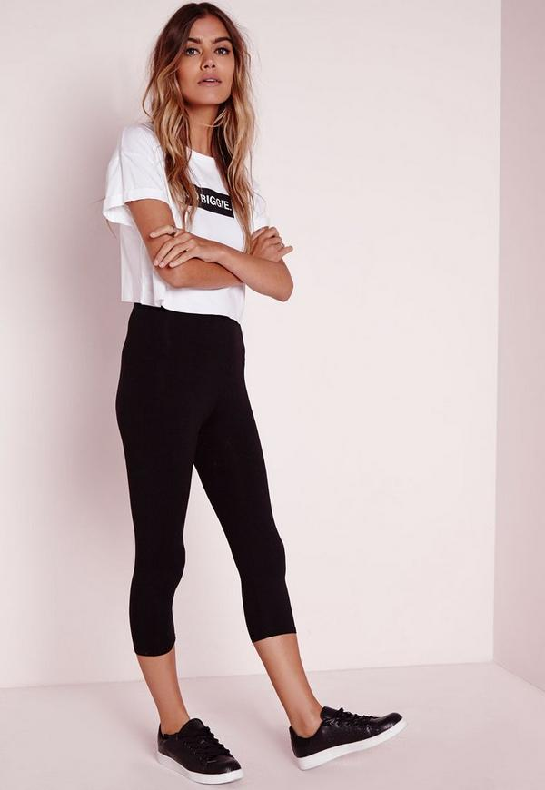 Heavy Jersey Cropped Leggings Black