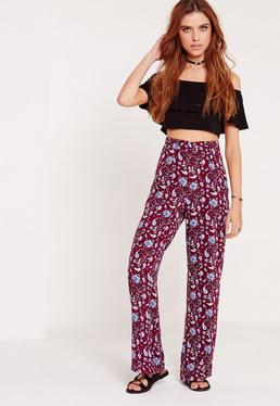 Paisley Print Wide Leg Trousers Purple