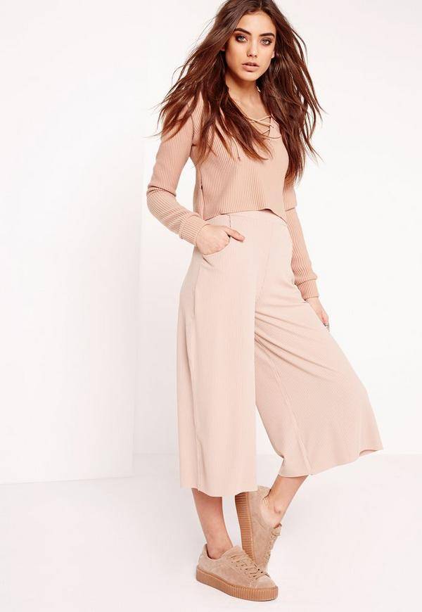 Ribbed Casual Culottes Pink