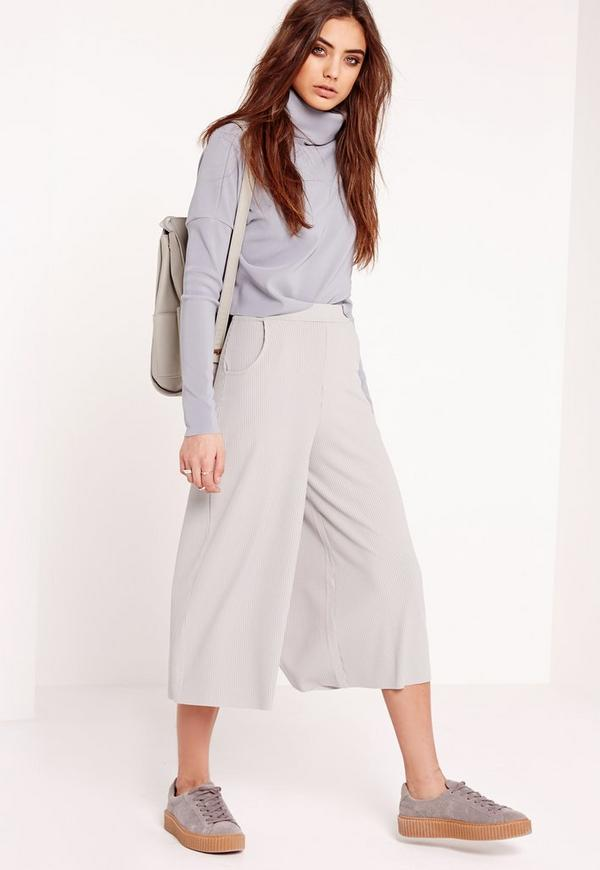 Ribbed Casual Culottes Grey