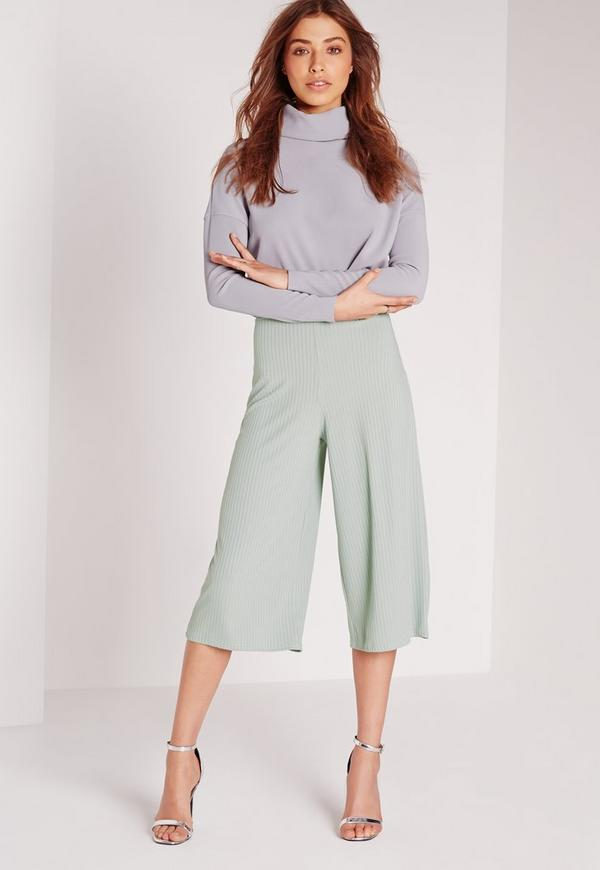 Ribbed Casual Culottes Green