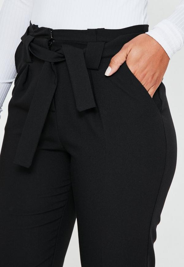 Pleated Waist Tie Belt Cigarette Pants Black Missguided