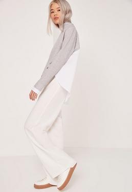 Pantalon blanc large à plis creux