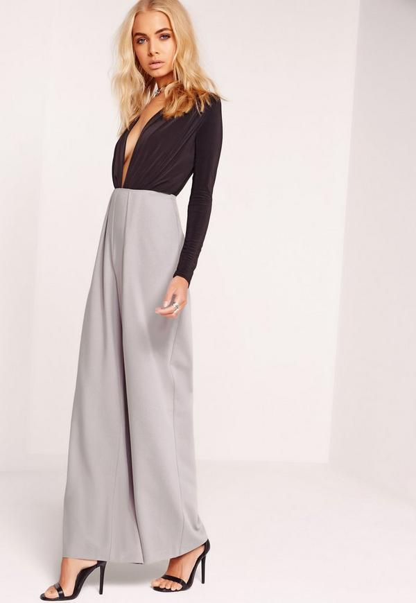 Pleat Front Wide Leg Trousers Grey