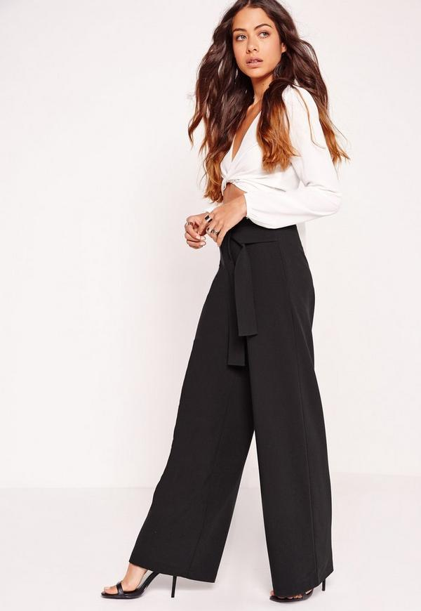 Tie Belt Super Wide Leg Trousers Black