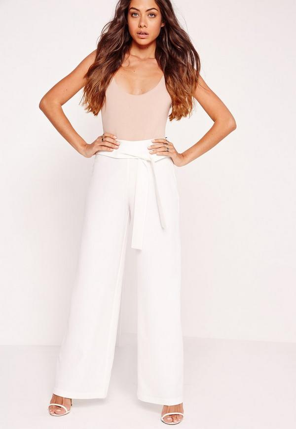 Tie Belt Super Wide Leg Trousers White