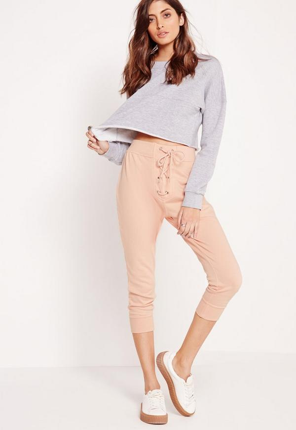 Lace Up Waistband Cropped Joggers Nude