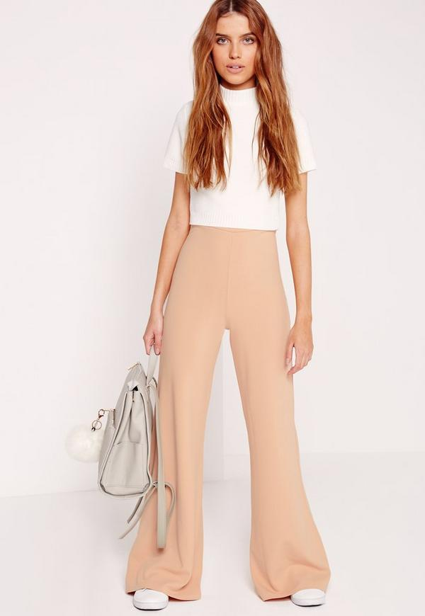 Crepe Wide Leg Trousers Nude