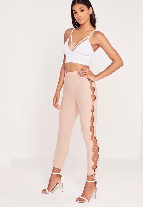 Lace Up Side Cigarette Trousers Nude