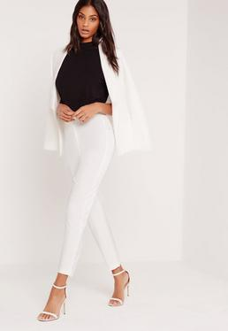 Satin Panel Cigarette Trousers Suit White