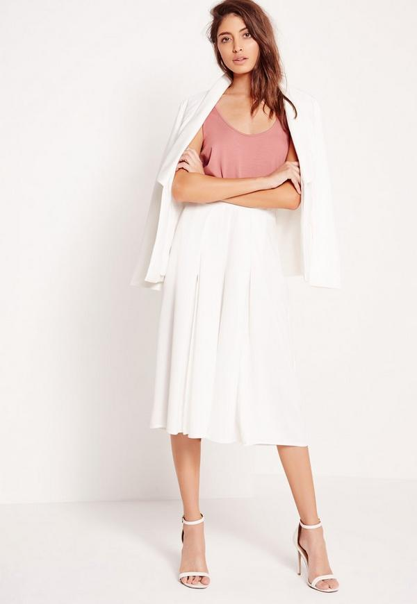 Split Front Culottes White