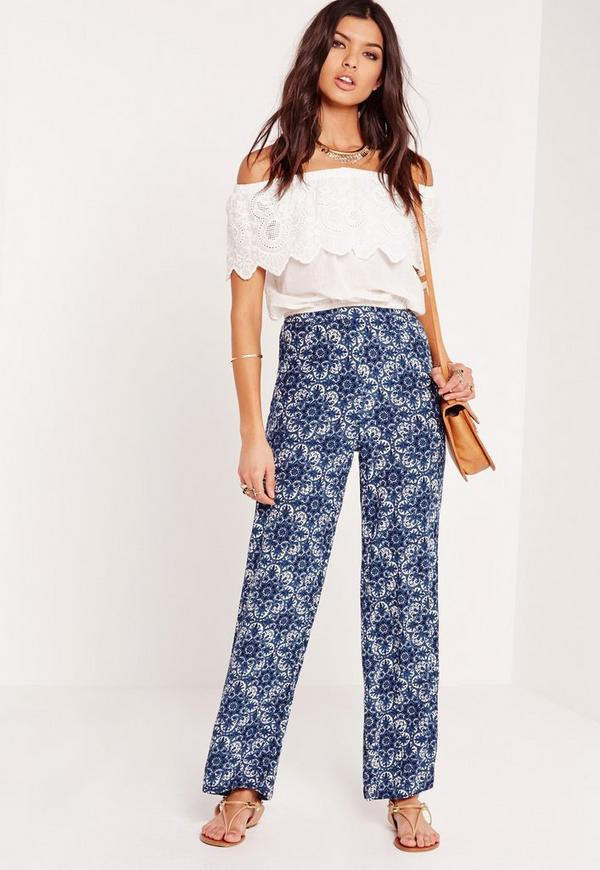 Moroccan Print Wide Leg Trousers Blue