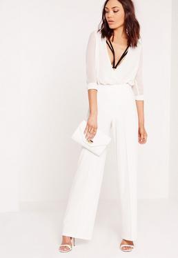 Pantalon large blanc coutures apparentes