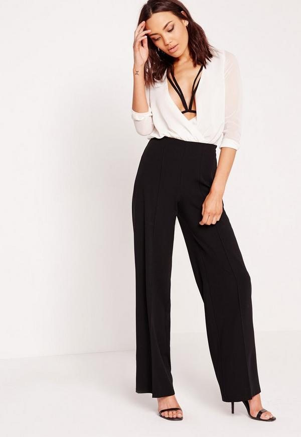 Pleated Front Wide Leg Trousers Black