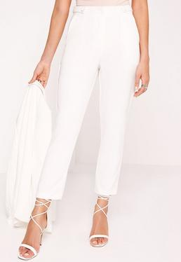 Button Detail Cigarette Pants White